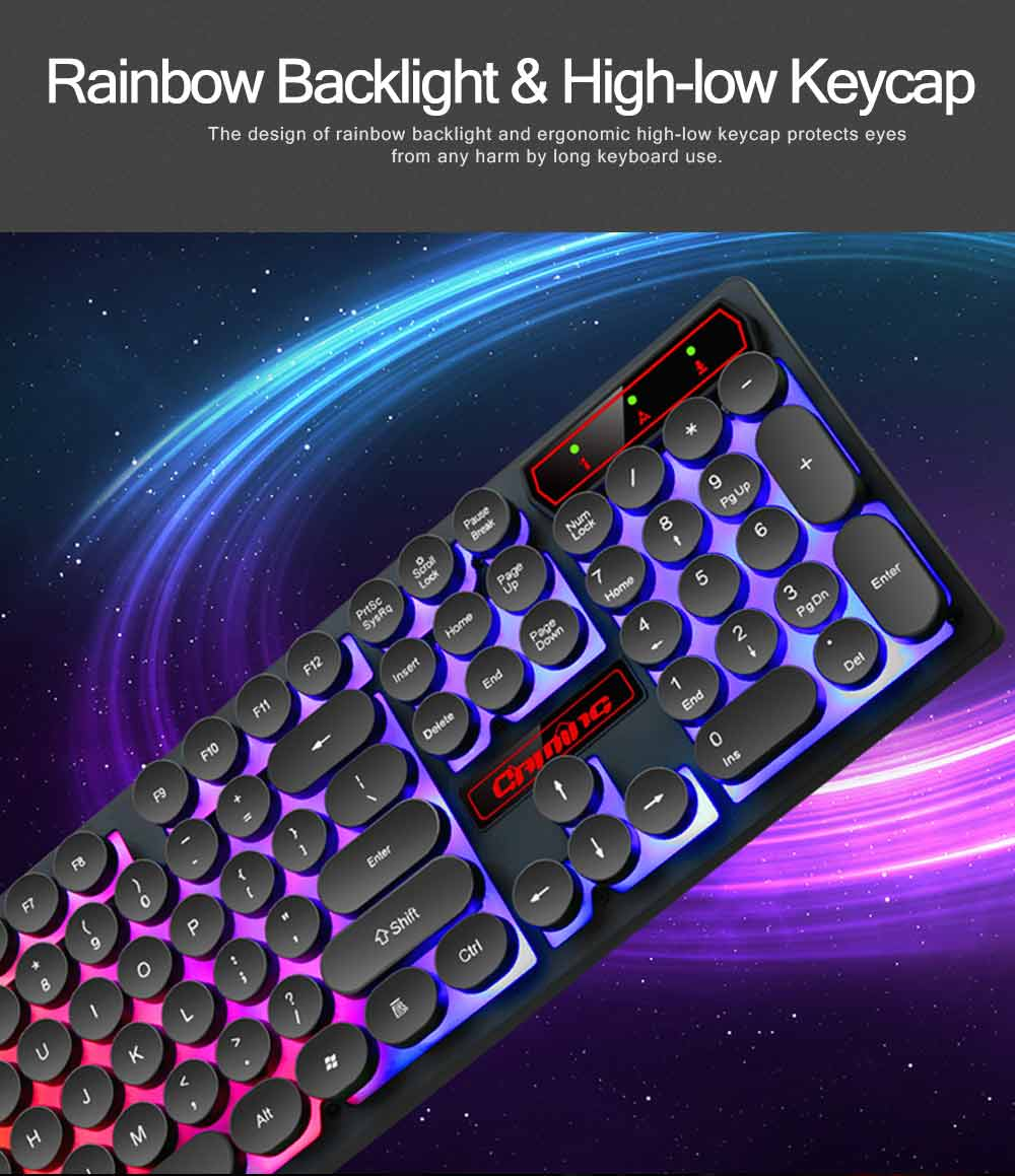 Retro Punk Mechanical Keyboard with Wire Game Keyboard Light Computer Accessories 3