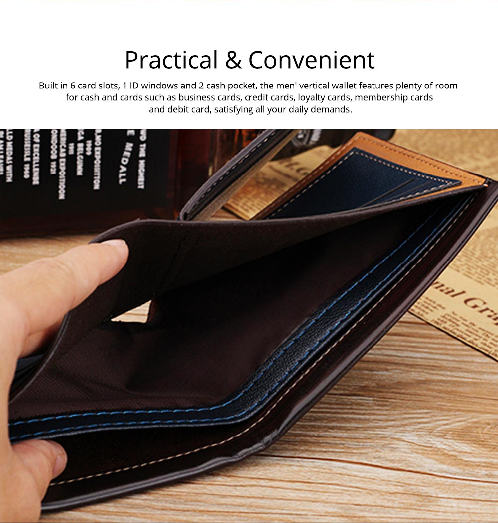 Business Style Genuine Leather Frosted Wallet with Two-folding and Multiple Cards Design for Men 6