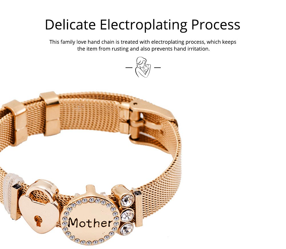 Stylish Heart Lock Model Mother Love Diamond Drilling Stainless Steel Bracelet, Family Love Electroplating Silver Gold Chain Bangle for Mothers 2