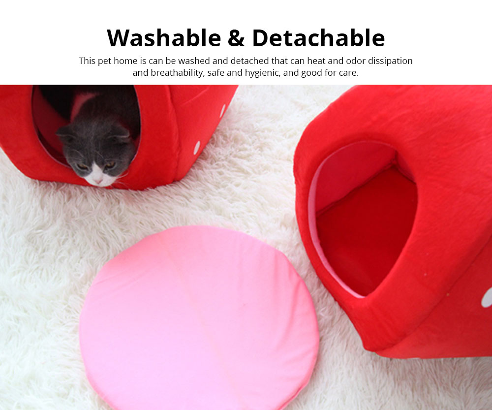 Strawberry Cat House, Washable Soft Durable Detachable Pet Nest, Autumn Winter Pet Accessories Thickened Pet Bed 3