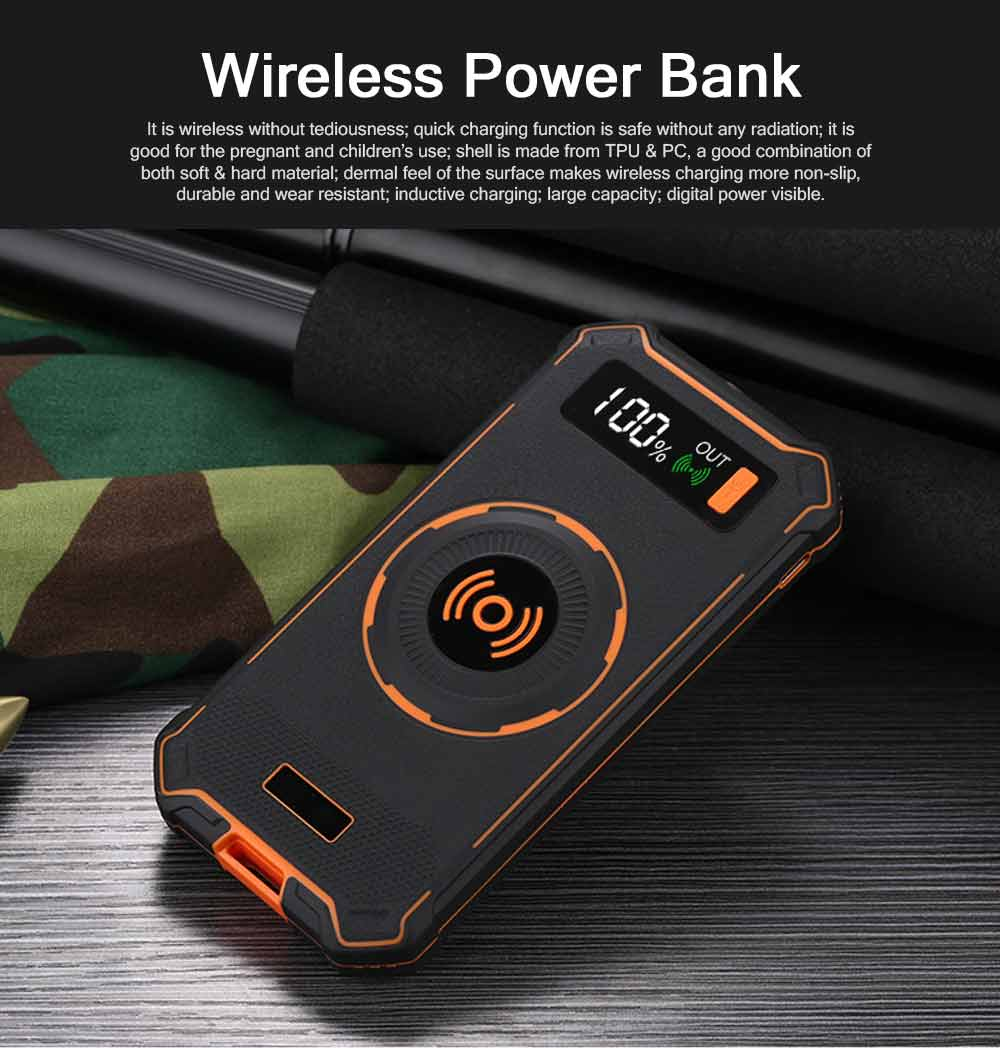 Wireless Power Bank with Display for Outdoor Use, Mobile Power Bank 10000mAh Ultra Slim Quick Charge with Wall Plug 0