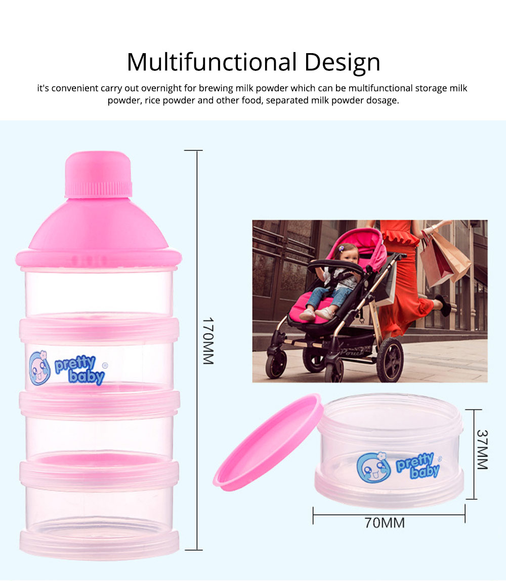Non-spill Multifunctional Baby Feeding Milk Powder Dispenser, Babies BPA Free Travel Storage Container with Stackable 4 Layers 4