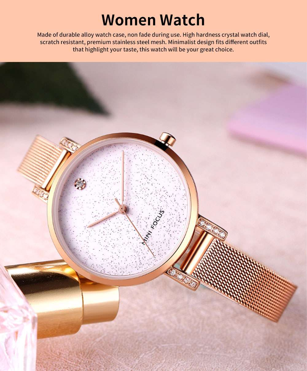 Women's Quartz Watch with Stainless Steel Mesh Band, Casual Fashion Wrist Watches Bracelet for Women Lady Girl With Gift Box 0