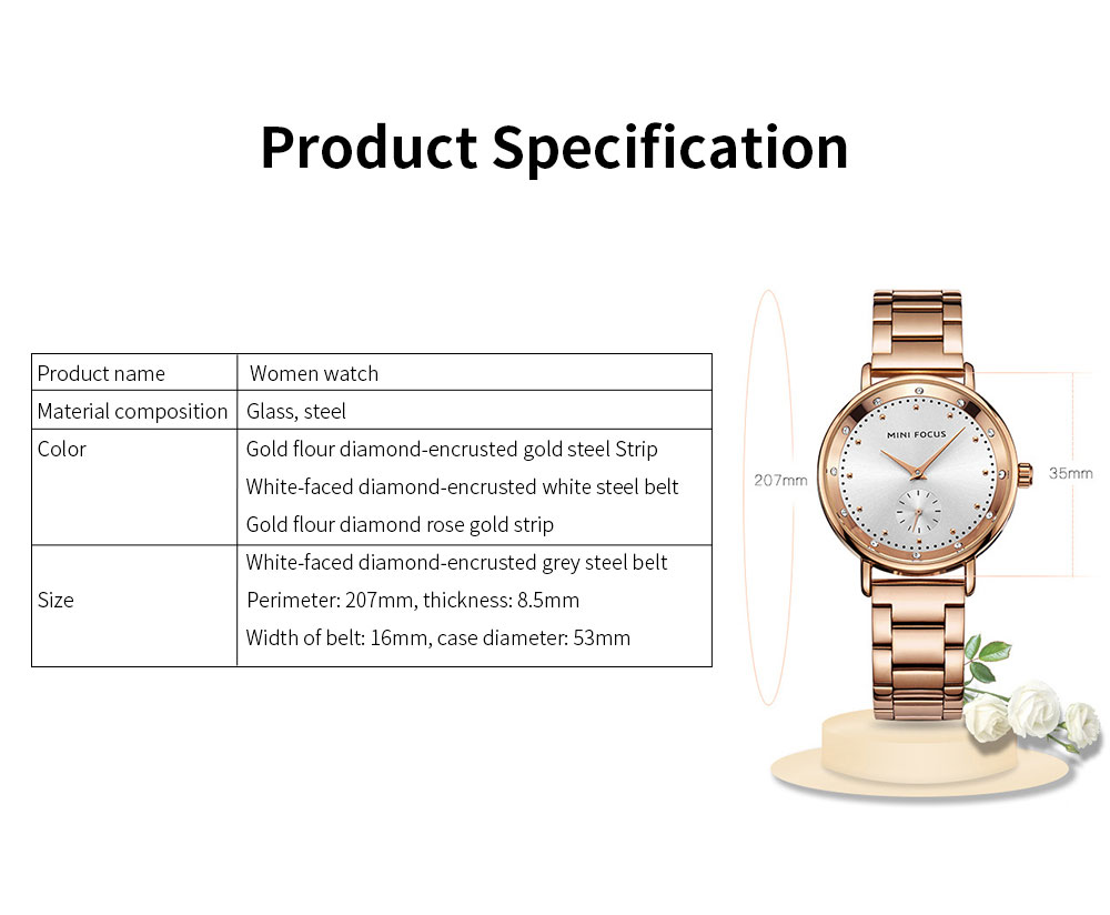 Diamond-encrusted Lady's Watch, Stainless Steel Band Casual Quartz Wrist Watch, Ladies Waterproof Stylish Watch 5