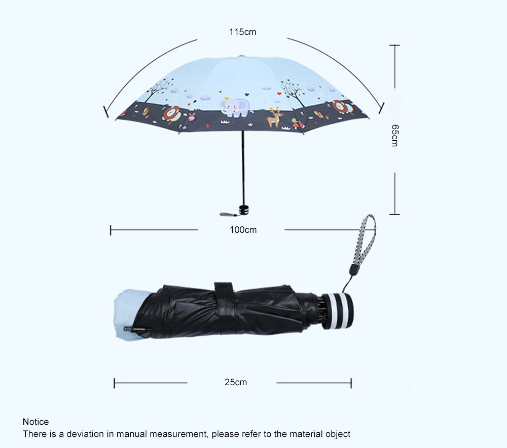 Lady's Outdoor Sun Umbrella with Triple Fold Sun Block, Multifunctional Umbrella with Lacquer Baking Handle 3