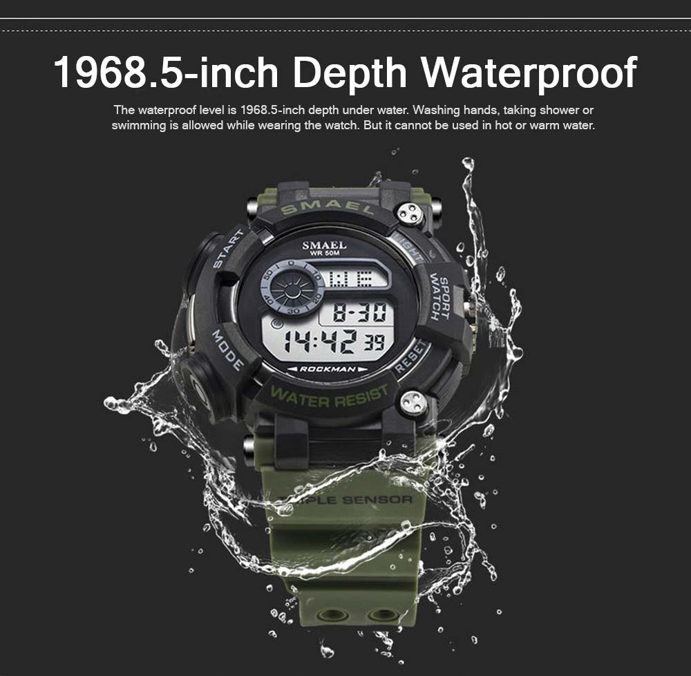 Waterproof Luminous Electronic Watch Red Display For Men Multifunctional Professional Sports Watch 2