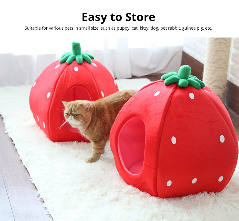Strawberry Cat House, Washable Soft Durable Detachable Pet Nest, Autumn Winter Pet Accessories Thickened Pet Bed 5