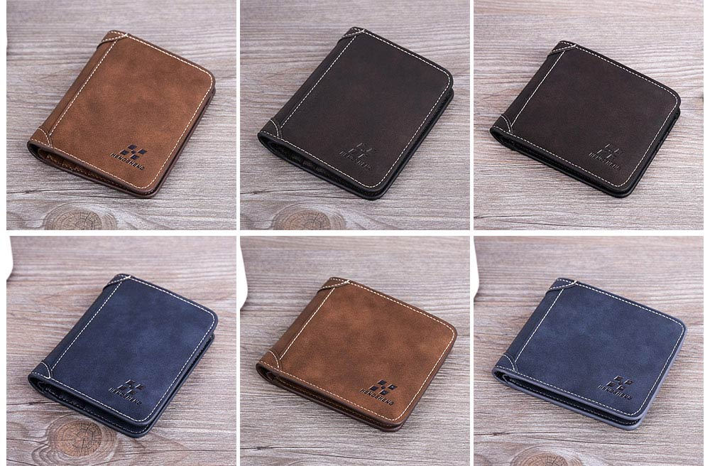 Genuine Leather Frosted Wallet with Three-folding & Multiple Cards Design & SIM Card Slot for Men. 16