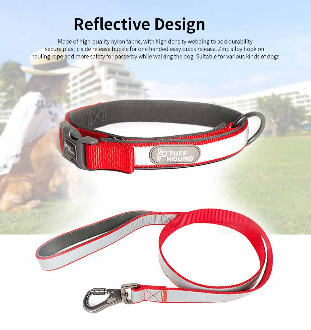 Reflective Dog Collar, Adjustable Pet Necklace, Multicolor Pet Necklace Hauling Rope 0
