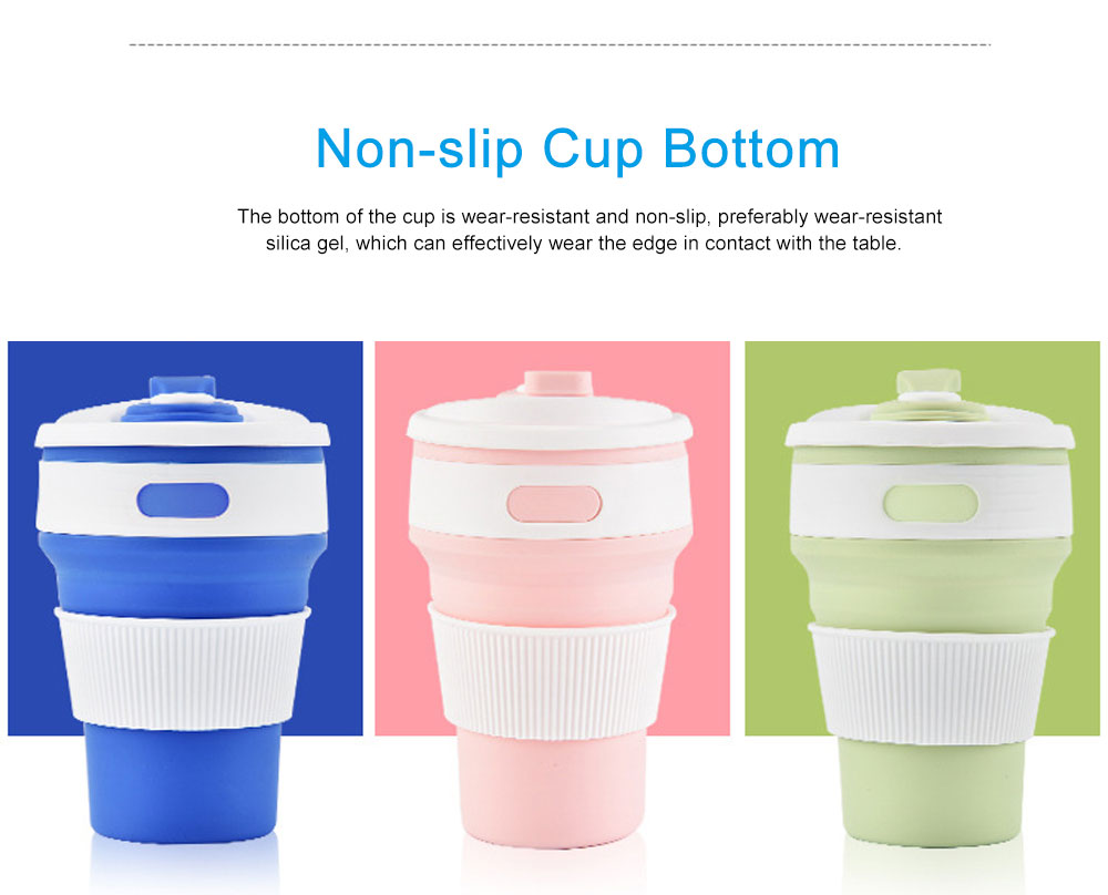 Silicone Sports Cup with Folding Design, Creative Portable Folding Coffee Cup, Shock Resistant to Fall Travel Silicone Water Cup 2