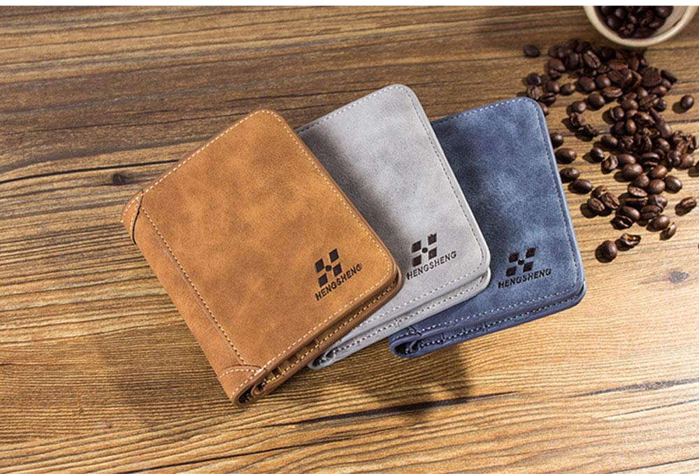 Genuine Leather Frosted Wallet with Three-folding & Multiple Cards Design & SIM Card Slot for Men. 3