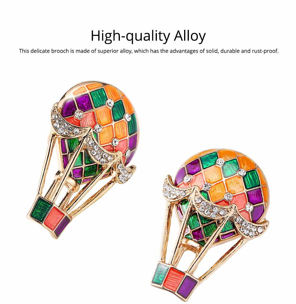 Colorful Enamel Painted Hot Air Balloon Model Brooch for Ladies, Stylish Diamonds Drilling Dripping Breastpin 1