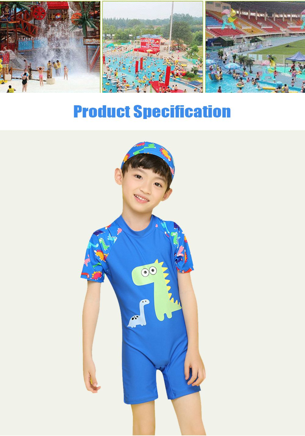 Little Boys One Piece Sunsuit Cute Short Sleeve Surfing Swimsuit Dinosaur Monster Children's Swimsuit with High Elasticity 6