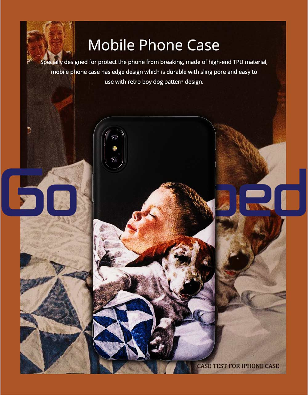 Mobile Phone Case with Retro Boy Dog Pattern for iPhone 6s/6sp, 7p/8p, XS/XR, Precise Audio Charging Hole Location Phone Shell 0