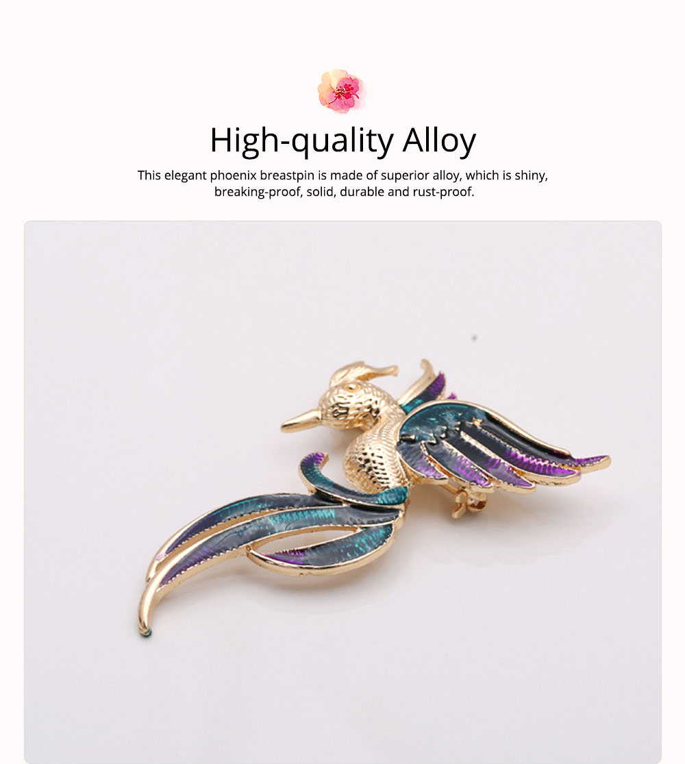 Little Dainty Phoenix Bird Enamel Painted Alloy Breastpin for Women, Colorful Dripping Scarf Clothes Decoration Accessories Animal Brooch 1