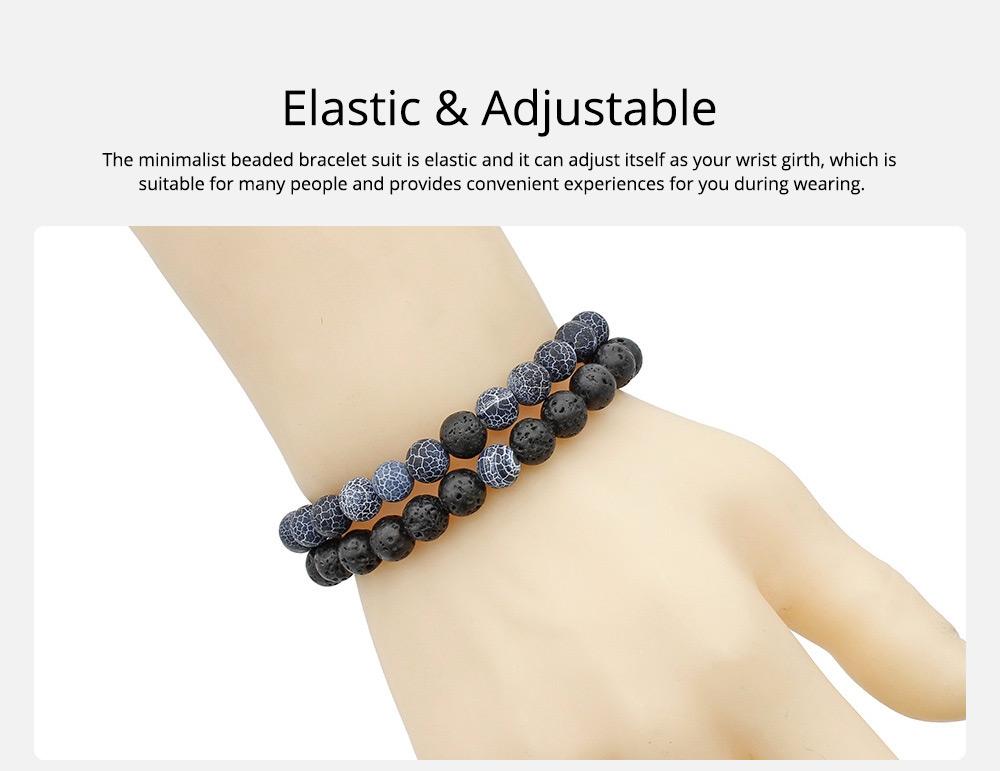 Minimalist Tiger Eye Natural Stone 8MM Beaded Hand Chain Suit, 2PCS Translucent Lava Beaded Bracelet Set for Men Ladies Women 5