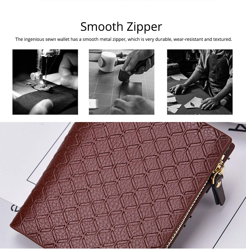 Checkered Change Purse with Two-folding & Multiple Cards Design, Business Genuine Leather Style for Men 3
