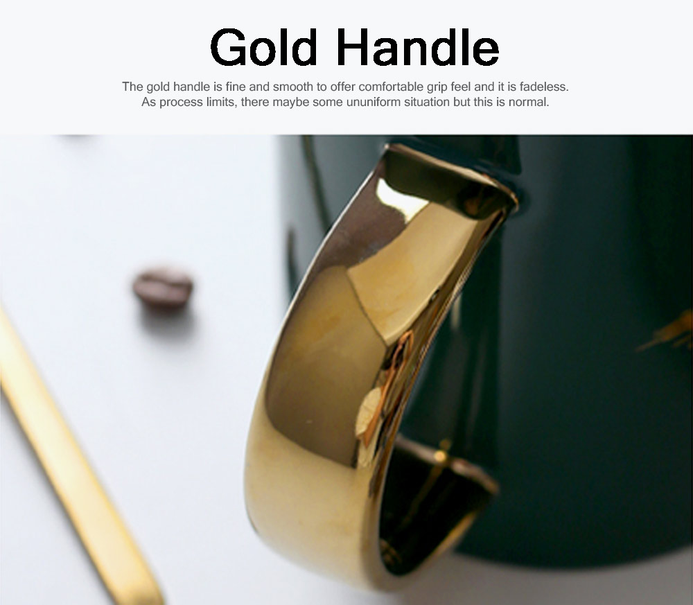 Luxury Gold-plated Dark Green Cup with Spoon and Lid, Office Drinking Creative Gold Coffee Mug Set 2
