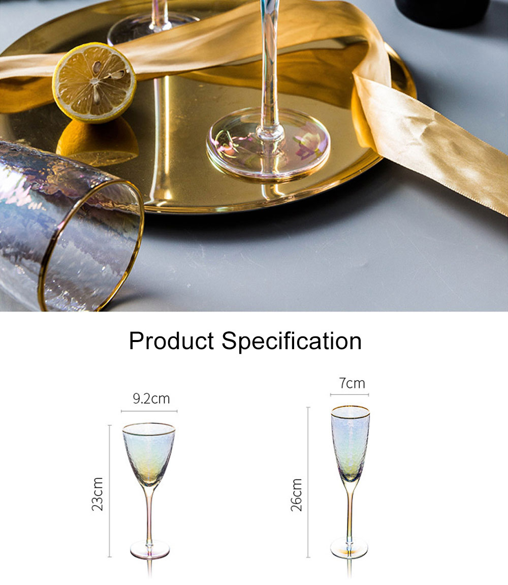 Lon-plated with Hammer-edged Design Glass, Red Wine Glass Family Wine Cocktail Champagne Glass 8
