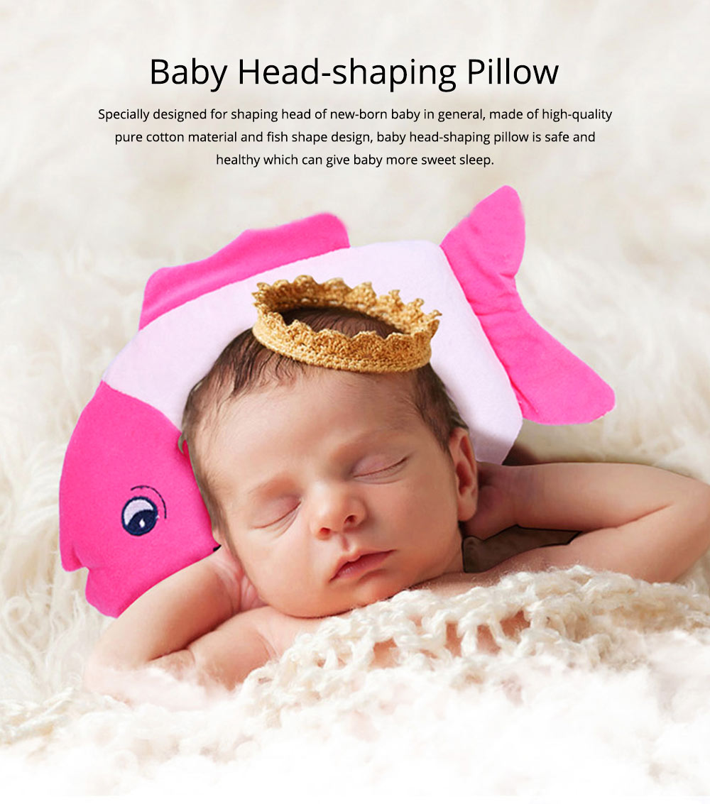 Fish-design Cotton Baby Pillow, Head-shaping Pillow for Preventing Plagiocephaly 0