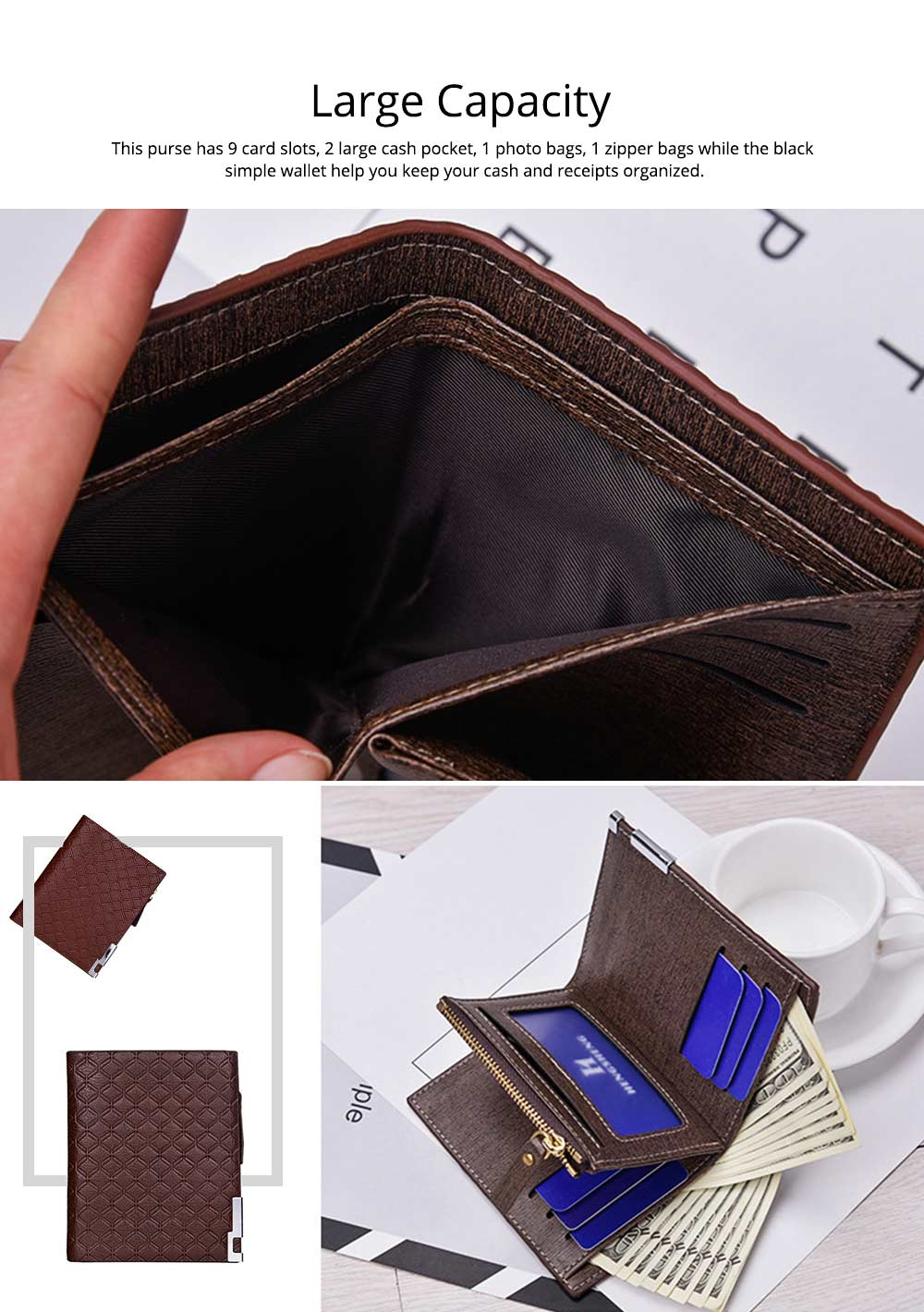 Checkered Change Purse with Two-folding & Multiple Cards Design, Business Genuine Leather Style for Men 4