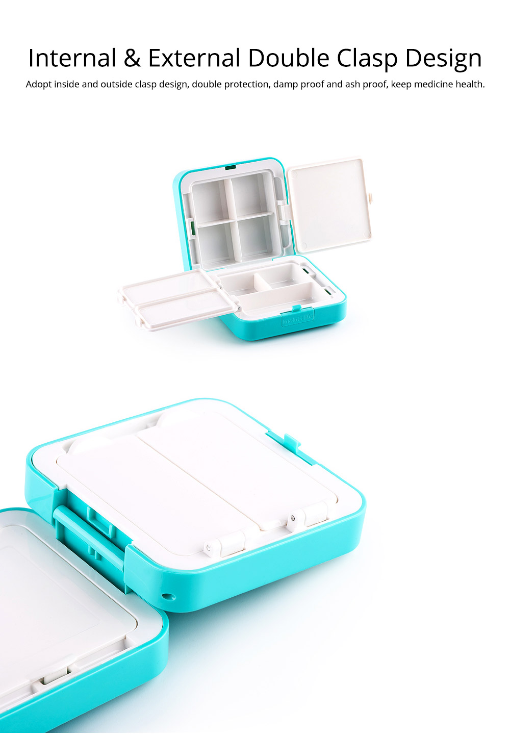 Convenient Double-layers Medicine Box with Internal & External Clasp Design, Sealed Moisture-proof Medicine Box 4