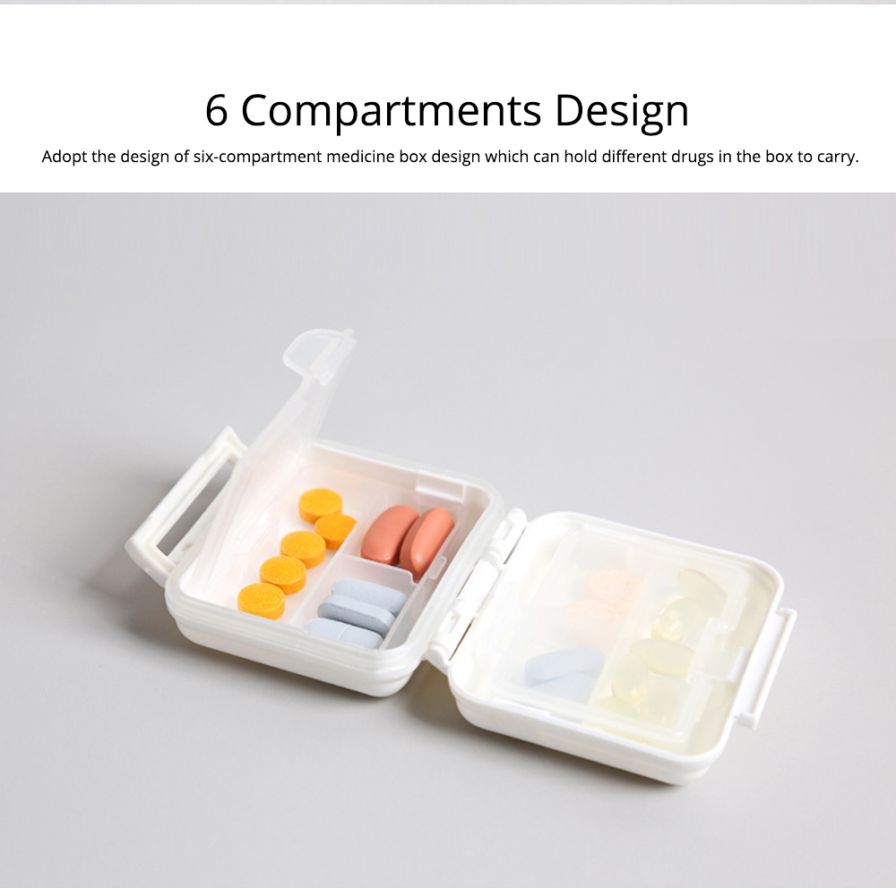 Portable Moisture-proof Double Layer Weekly Pill Box with 6 Removable Compartments 2