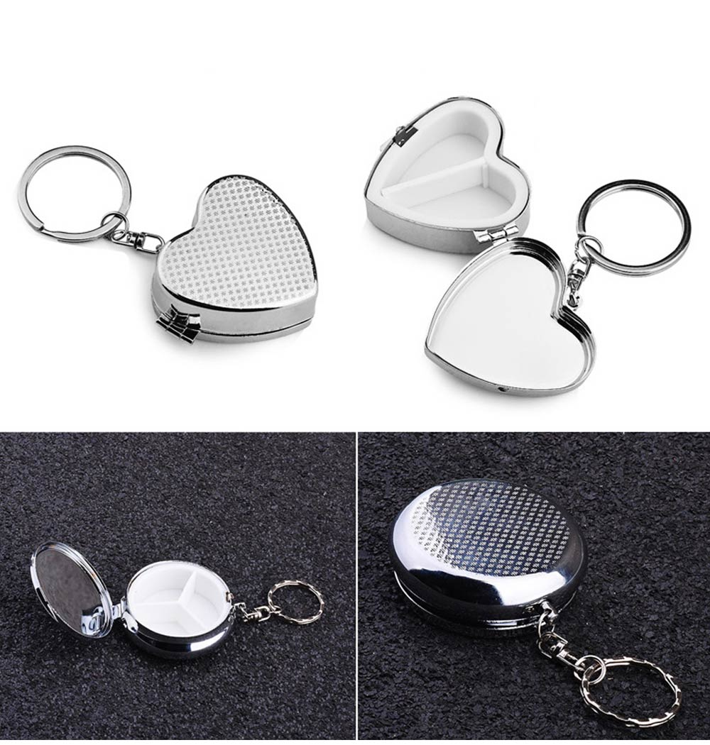 Stainless Steel Pill Holder, Creative 4 Shapes Pill Box With Inner Grid Design 6
