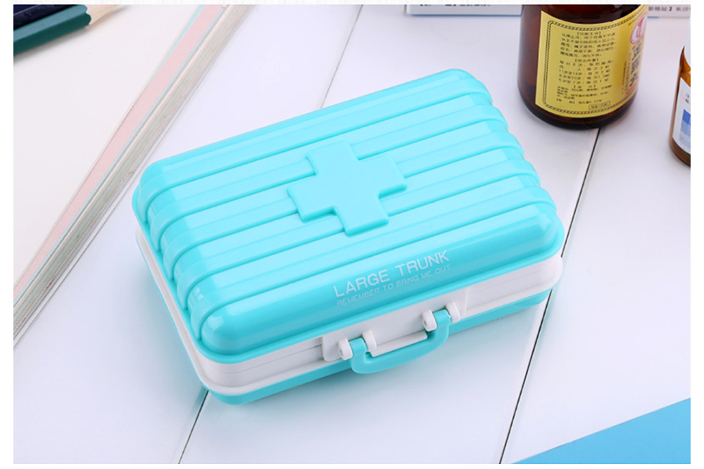 Portable 7-day 6 High Partition Pill Box with Suitcase Style, Large Capacity Moisture-proof Pill Case 5