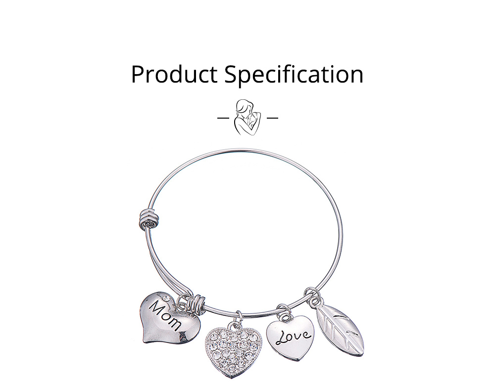 Stylish Heart Model Diamond Drilling Stainless Steel Bracelet, Mother Love Letter Electroplating Adjustable Silver Chain Bangle for Mothers 5