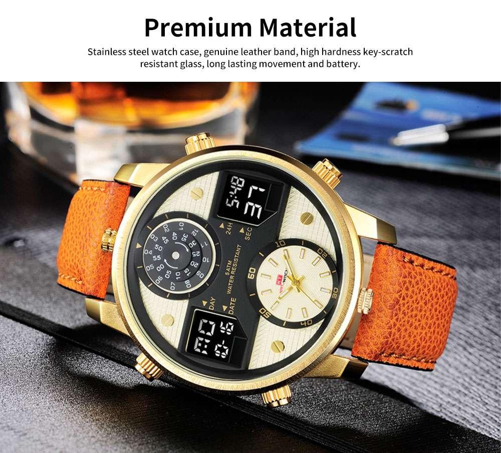 Men's Quartz Watch with Date Genuine Leather Band Minimalist Wrist Watches Nightlight Waterproof 50M Sports Watches for Men 2