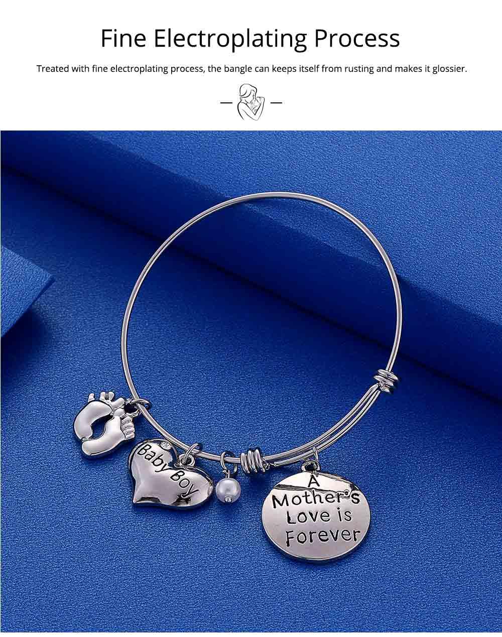 Heart Shaped Stainless Steel Bracelet, Pendant Mother Love Baby Boy Letter Decoration 2