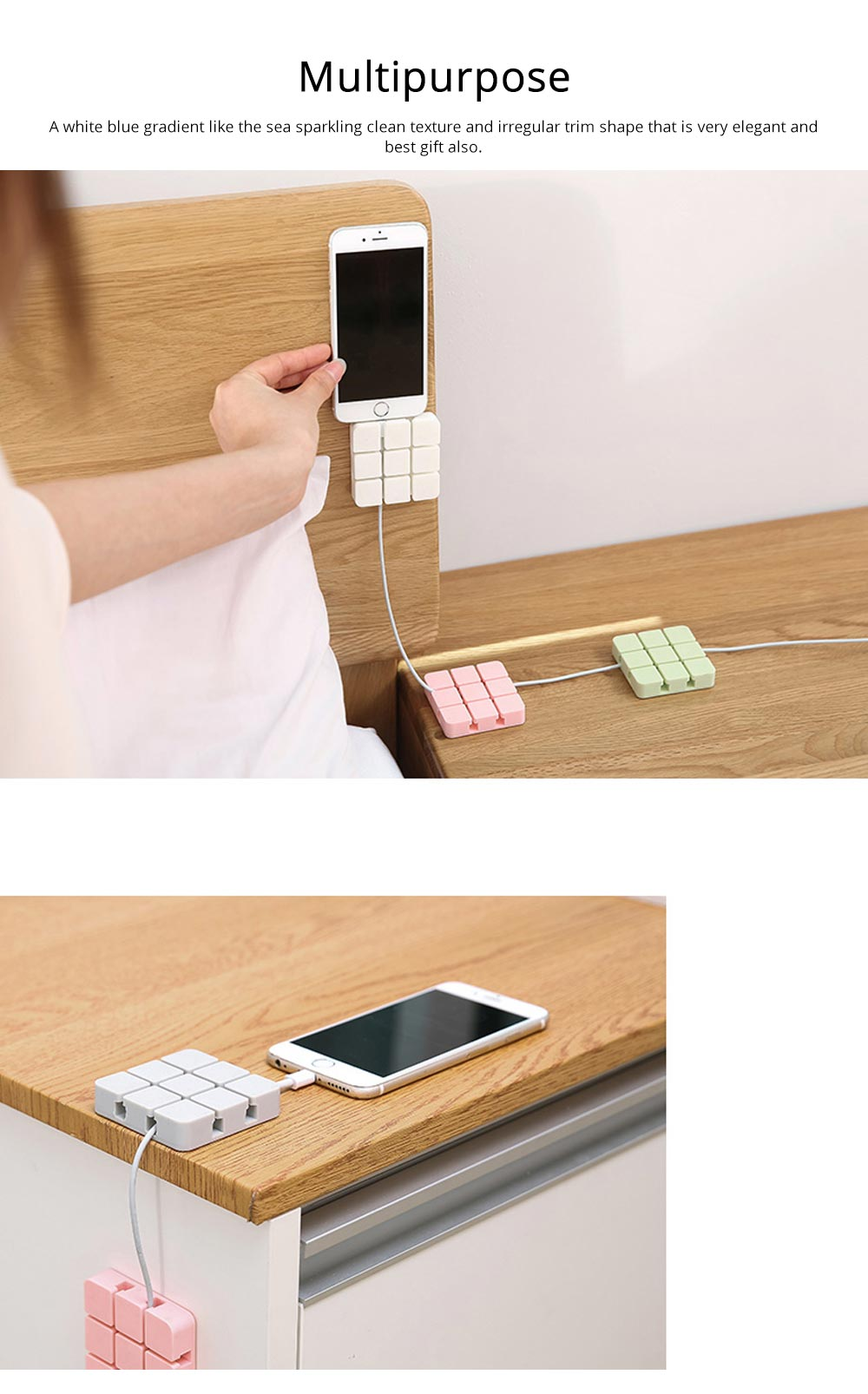 Mini Silicone Cable Management Wire Holder Adhesive Charging Cable Storage Hub Home Office Car Desk Accessories 2