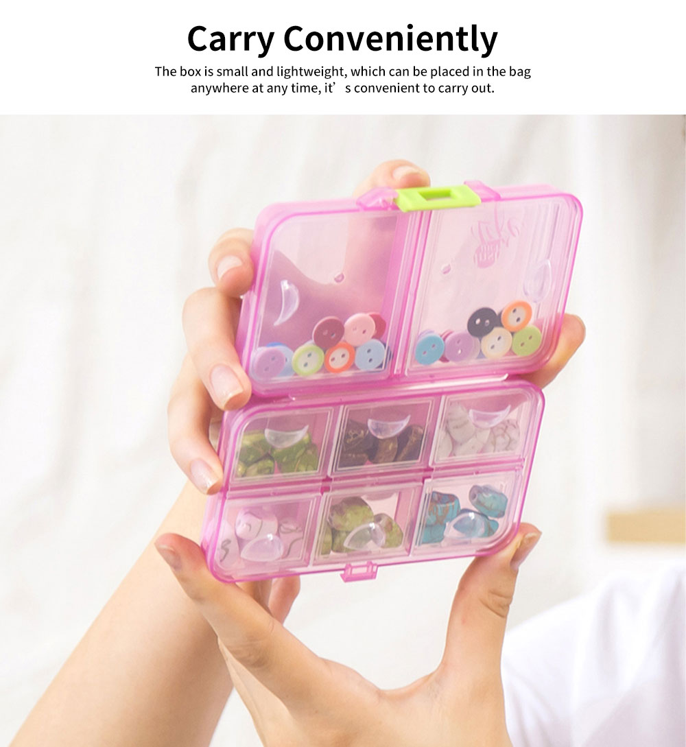 Portable PC Pill Organiser Storage Box Non-toxic Container 8 Spaces for Medicine Jewelry Easy Carrying Double Layers Dispenser 4 Colors 5