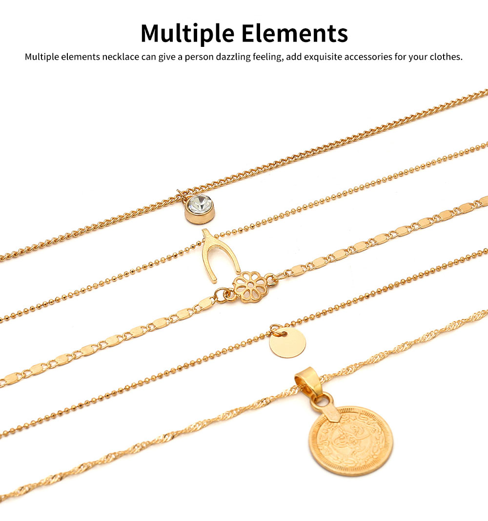 Retro Alloy Plating Necklace Multiple Elements Ornament Coin Flower Diamond Style Neck-let for Women Girl - Golden 2