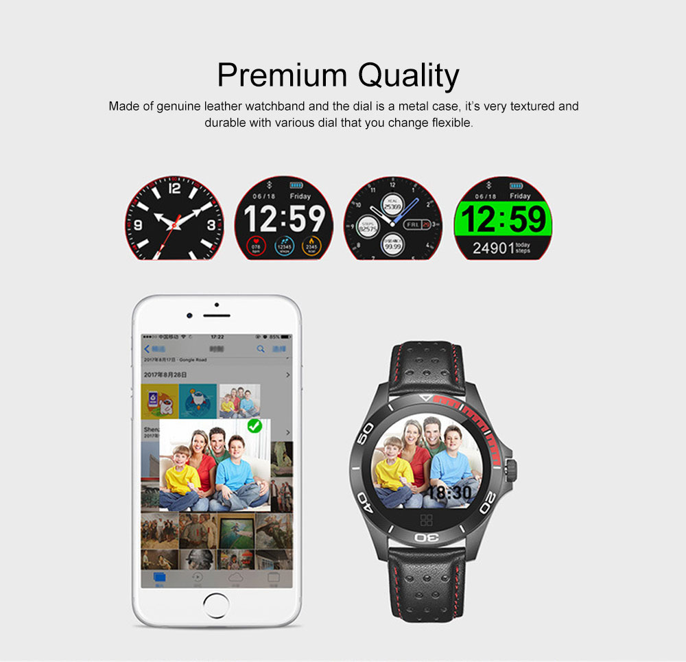 Multifunctional Smart Electronic Watch Supporting Sports Step & Heart Rate with IOS/Android Bluetooth, Water-poof Bracelet with Genuine Leather Strap 2