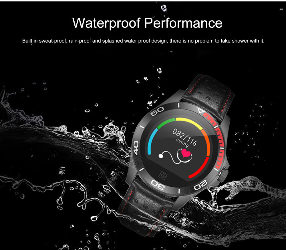 Multifunctional Smart Electronic Watch Supporting Sports Step & Heart Rate with IOS/Android Bluetooth, Water-poof Bracelet with Genuine Leather Strap 6