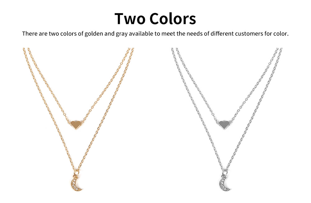 Female Necklace Alloy Neck-let Two Layers Moon Heart Shapes Torque Simple Ornament for Women 1
