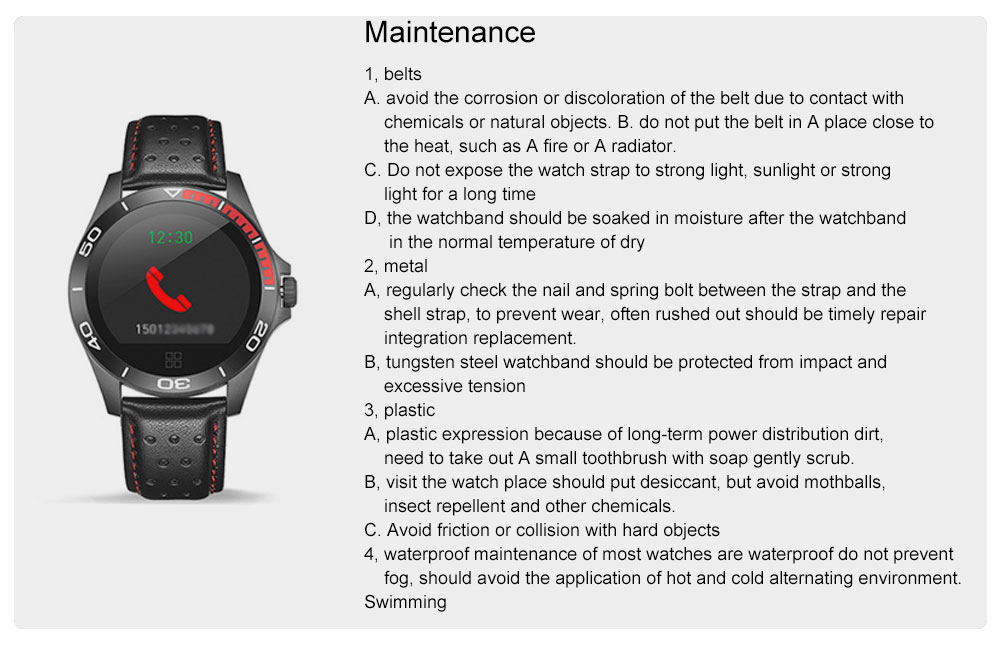 Multifunctional Smart Electronic Watch Supporting Sports Step & Heart Rate with IOS/Android Bluetooth, Water-poof Bracelet with Genuine Leather Strap 9