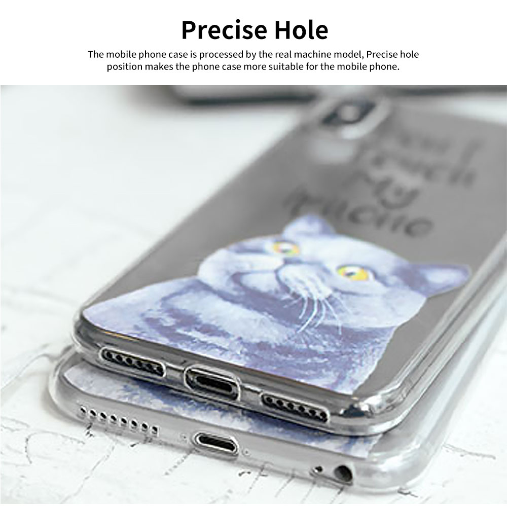 Creative Personality British Shorthair Cat Phone Cover for iPhone 6, 6S Transparent Soft Shell 10