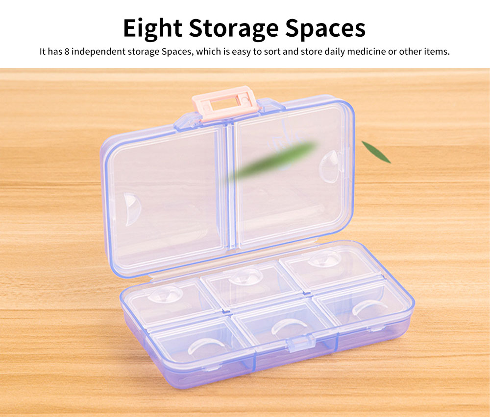 Portable PC Pill Organiser Storage Box Non-toxic Container 8 Spaces for Medicine Jewelry Easy Carrying Double Layers Dispenser 4 Colors 2