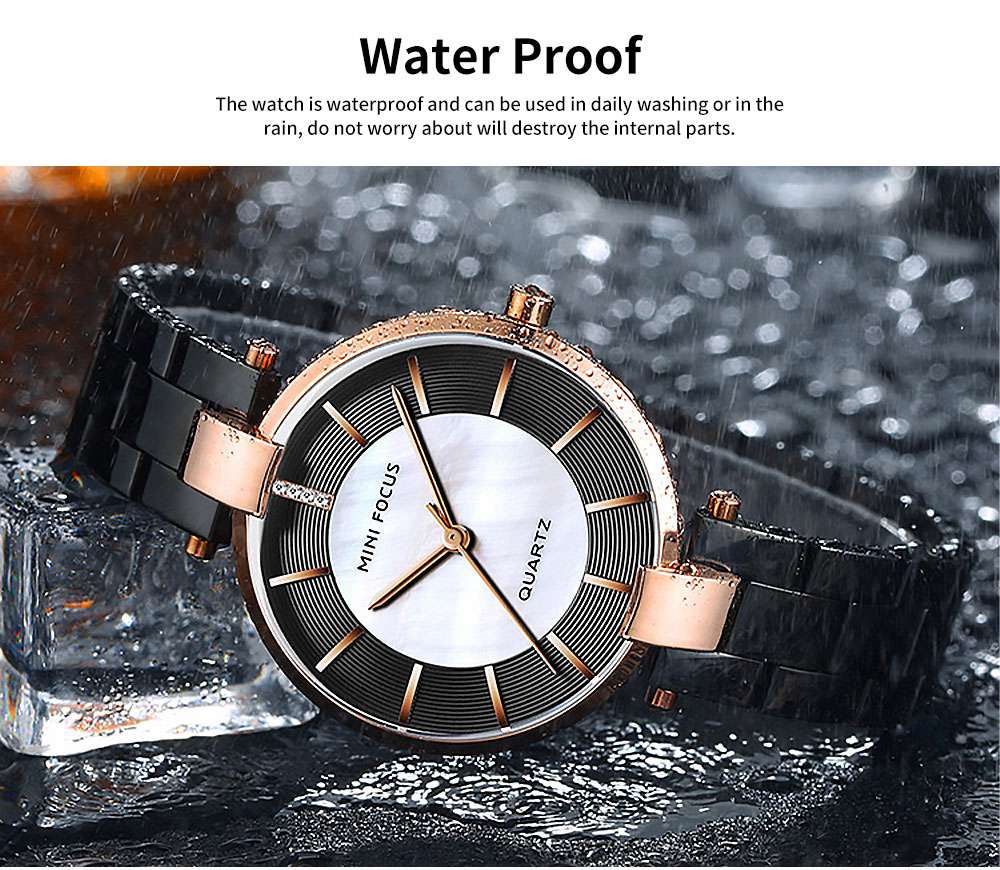 Fashion Elegant Female Wristwatch with Stainless Steel Band Strap Imported Movement, Wear-resisting Lens Round Case Waterproof Quartz Watch 4