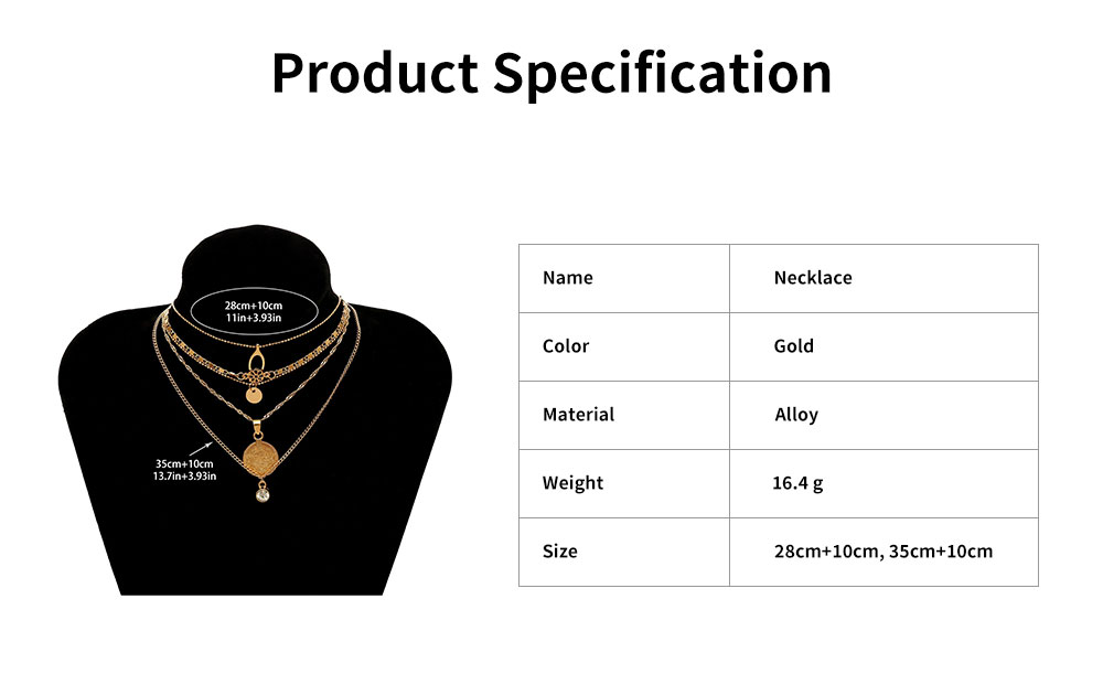 Retro Alloy Plating Necklace Multiple Elements Ornament Coin Flower Diamond Style Neck-let for Women Girl - Golden 6