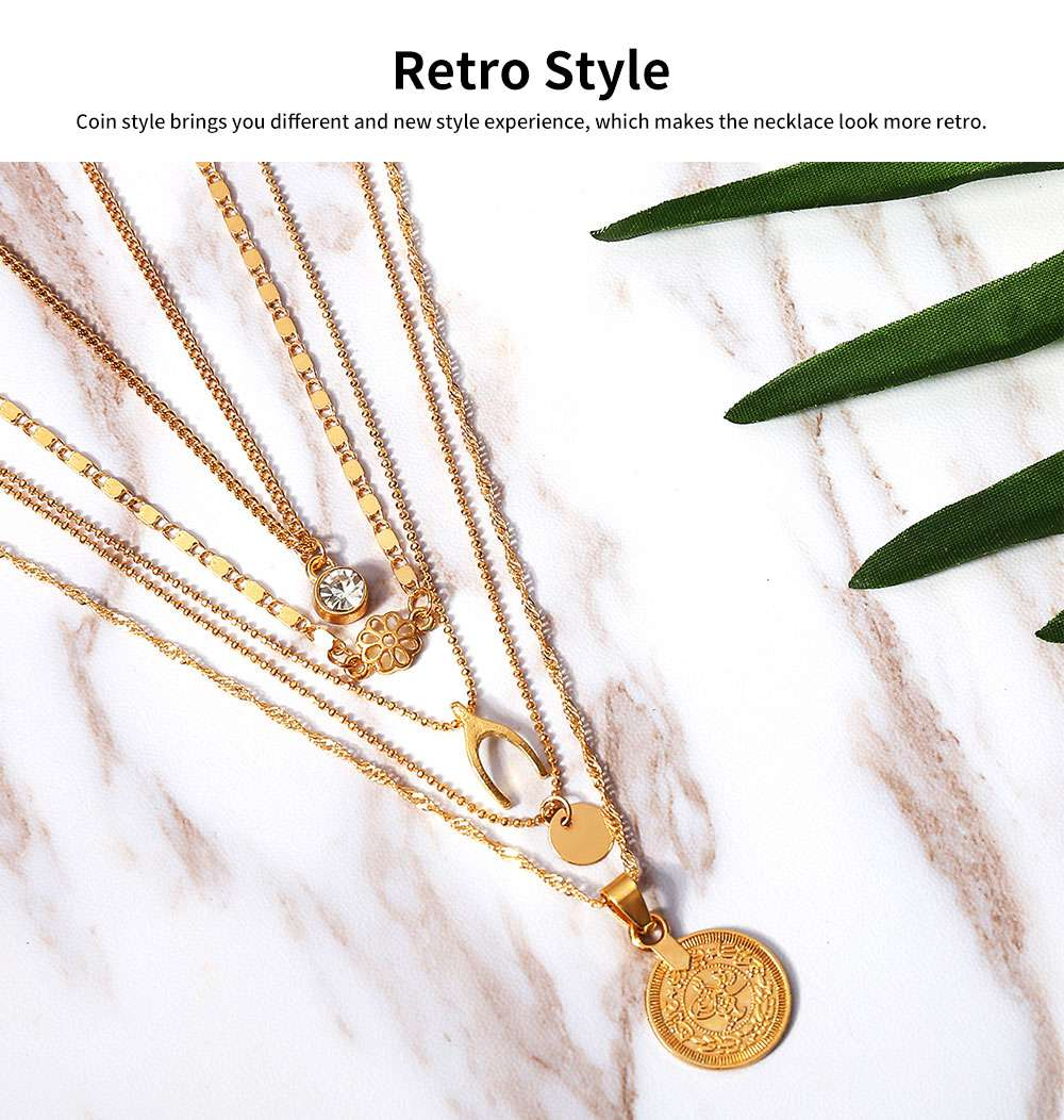 Retro Alloy Plating Necklace Multiple Elements Ornament Coin Flower Diamond Style Neck-let for Women Girl - Golden 3
