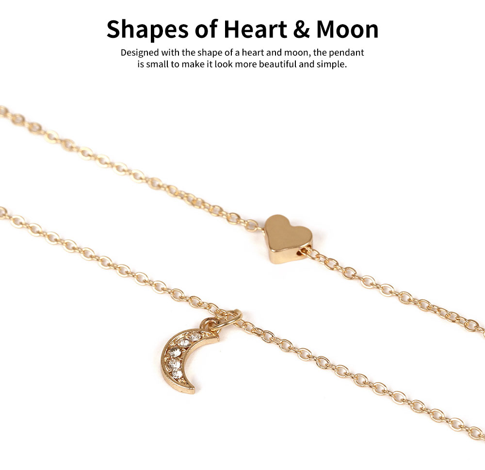 Female Necklace Alloy Neck-let Two Layers Moon Heart Shapes Torque Simple Ornament for Women 2