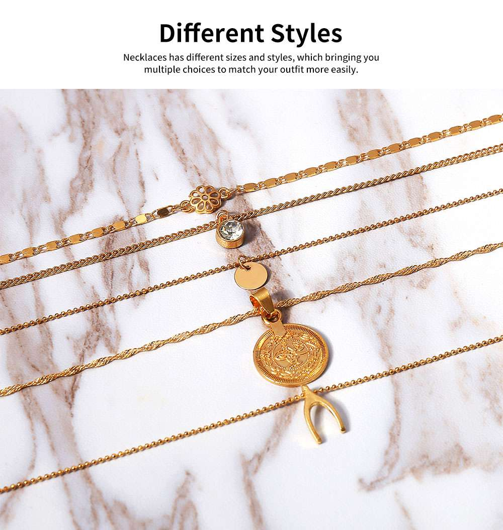 Retro Alloy Plating Necklace Multiple Elements Ornament Coin Flower Diamond Style Neck-let for Women Girl - Golden 5
