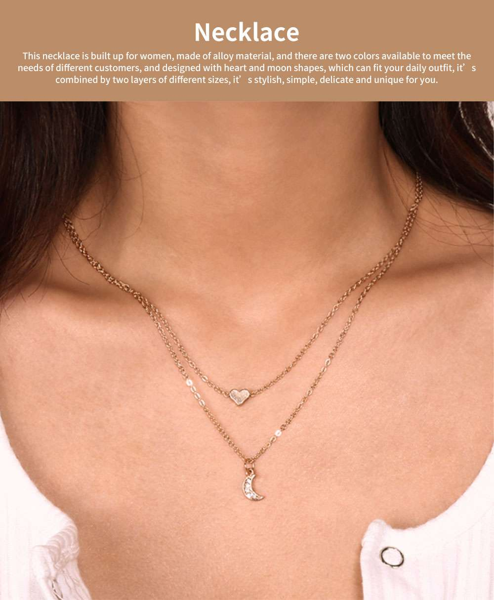 Female Necklace Alloy Neck-let Two Layers Moon Heart Shapes Torque Simple Ornament for Women 0