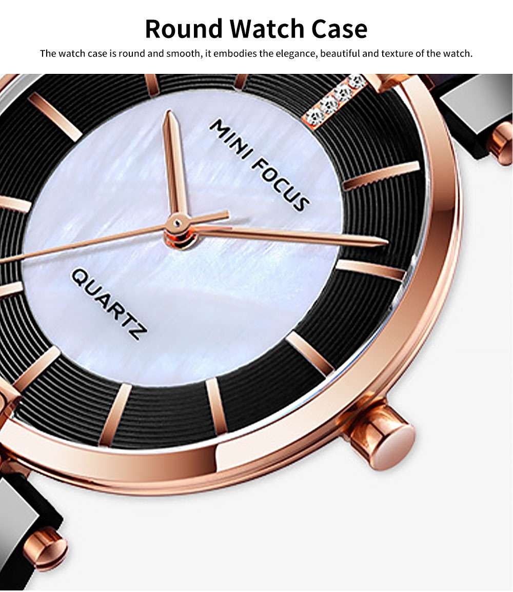 Fashion Elegant Female Wristwatch with Stainless Steel Band Strap Imported Movement, Wear-resisting Lens Round Case Waterproof Quartz Watch 2