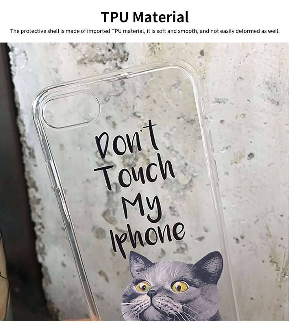 Creative Personality British Shorthair Cat Phone Cover for iPhone 6, 6S Transparent Soft Shell 11