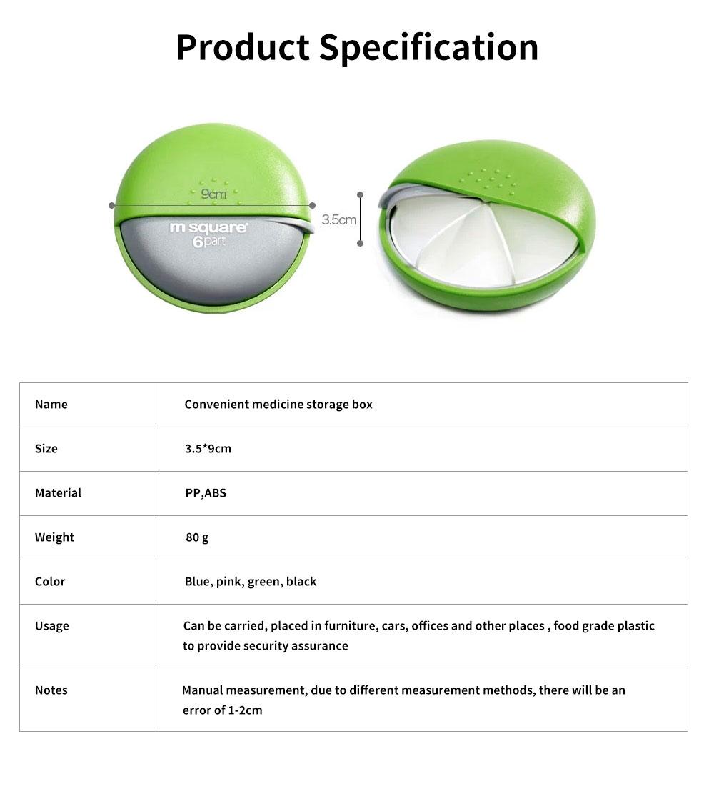 m square Mini PP ABS Round Pill Box Container Storage Case for Medicine Jewelry Vitamin Headphone 6